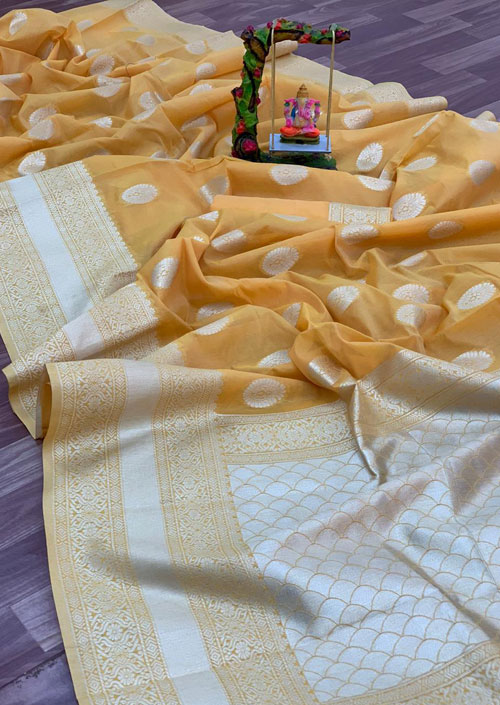 Women's Linen silk saree with Blouse (Yellow) dvz000035