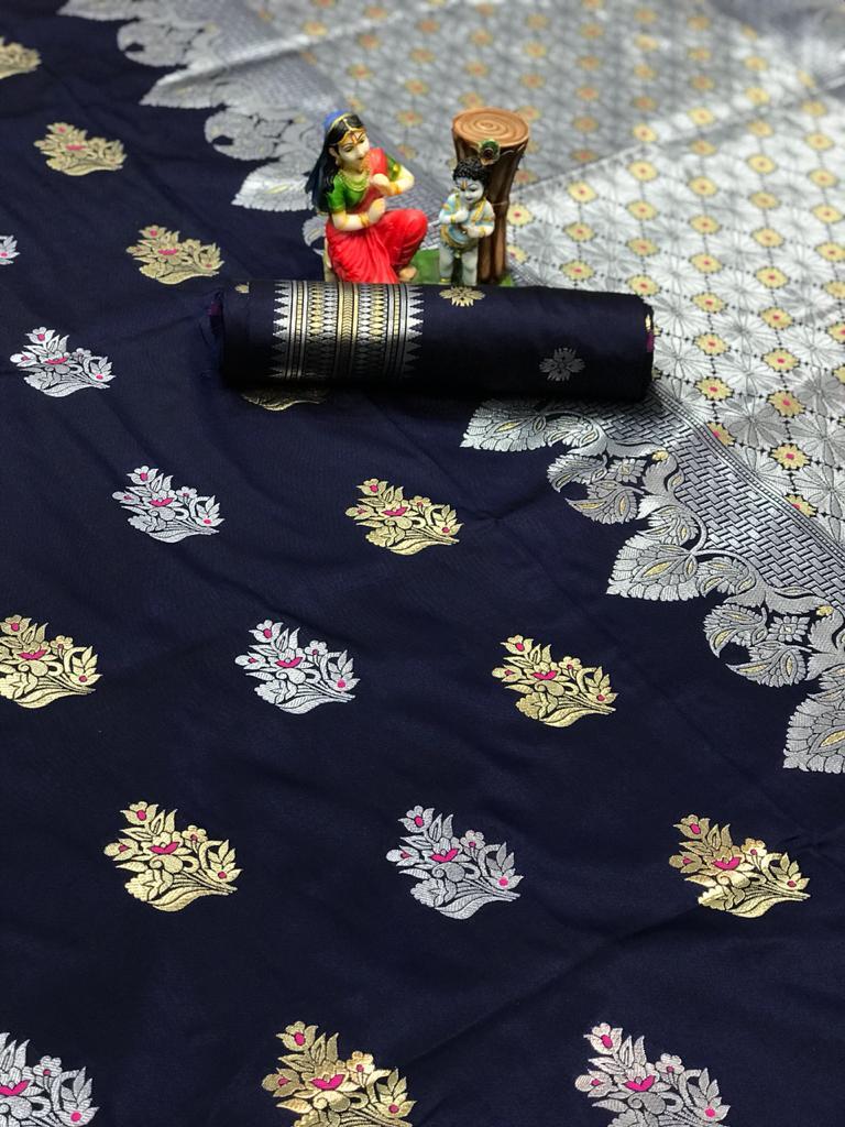 Women's Navy Blue Lichi silk woven saree dvz0002069-2