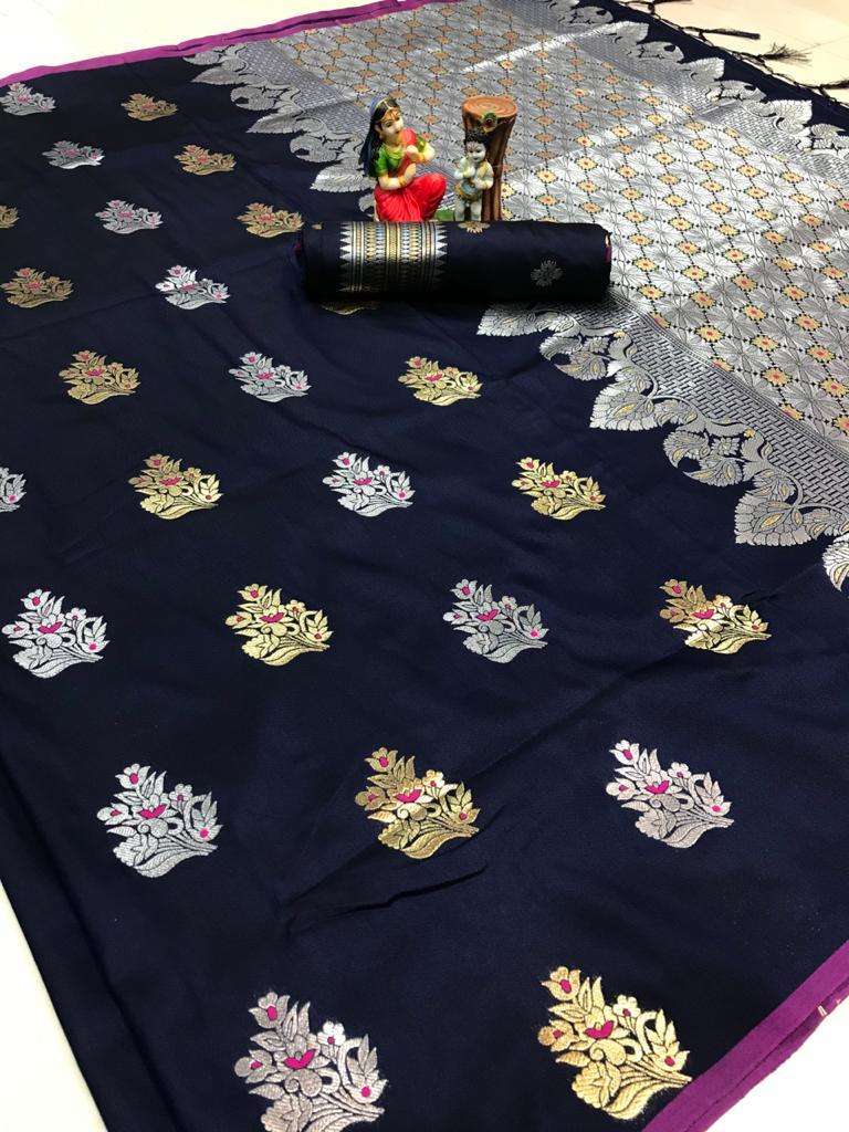Women's Navy Blue Lichi silk woven saree dvz0002069