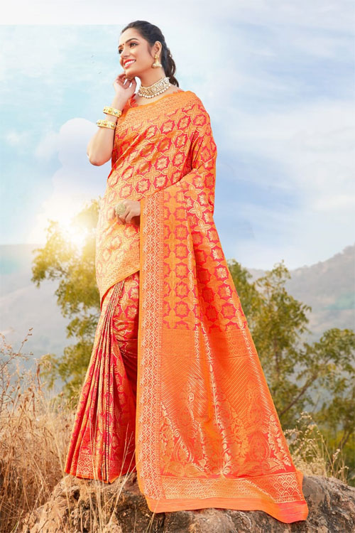 Women's Orange Coloured Soft silk saree dvz0001035