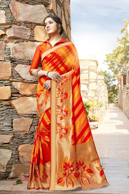 Women's Orange Red Coloured Soft silk saree dvz0001036