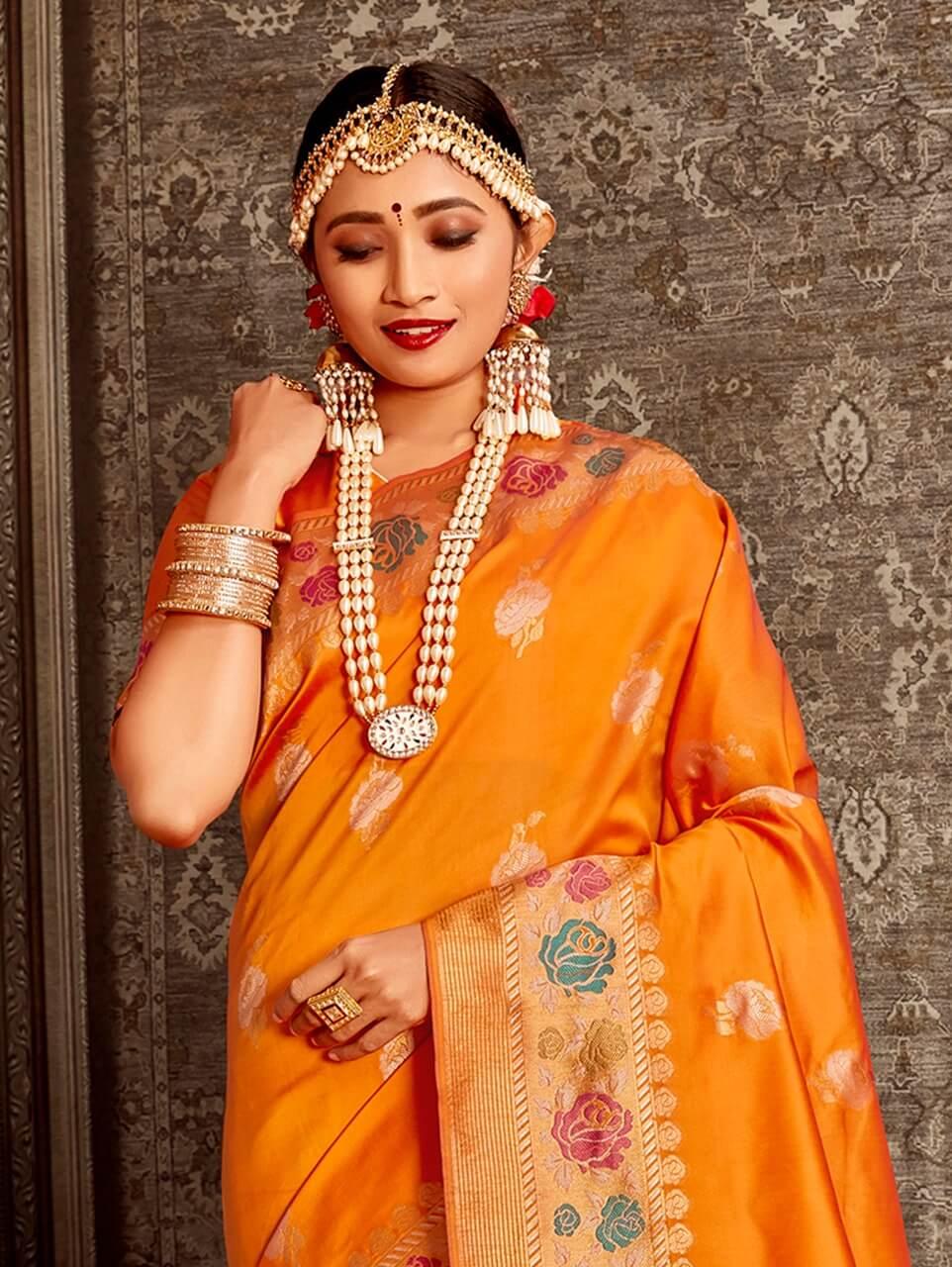 Women's Orange Soft Silk Traditional Saree in dvz0002390-2
