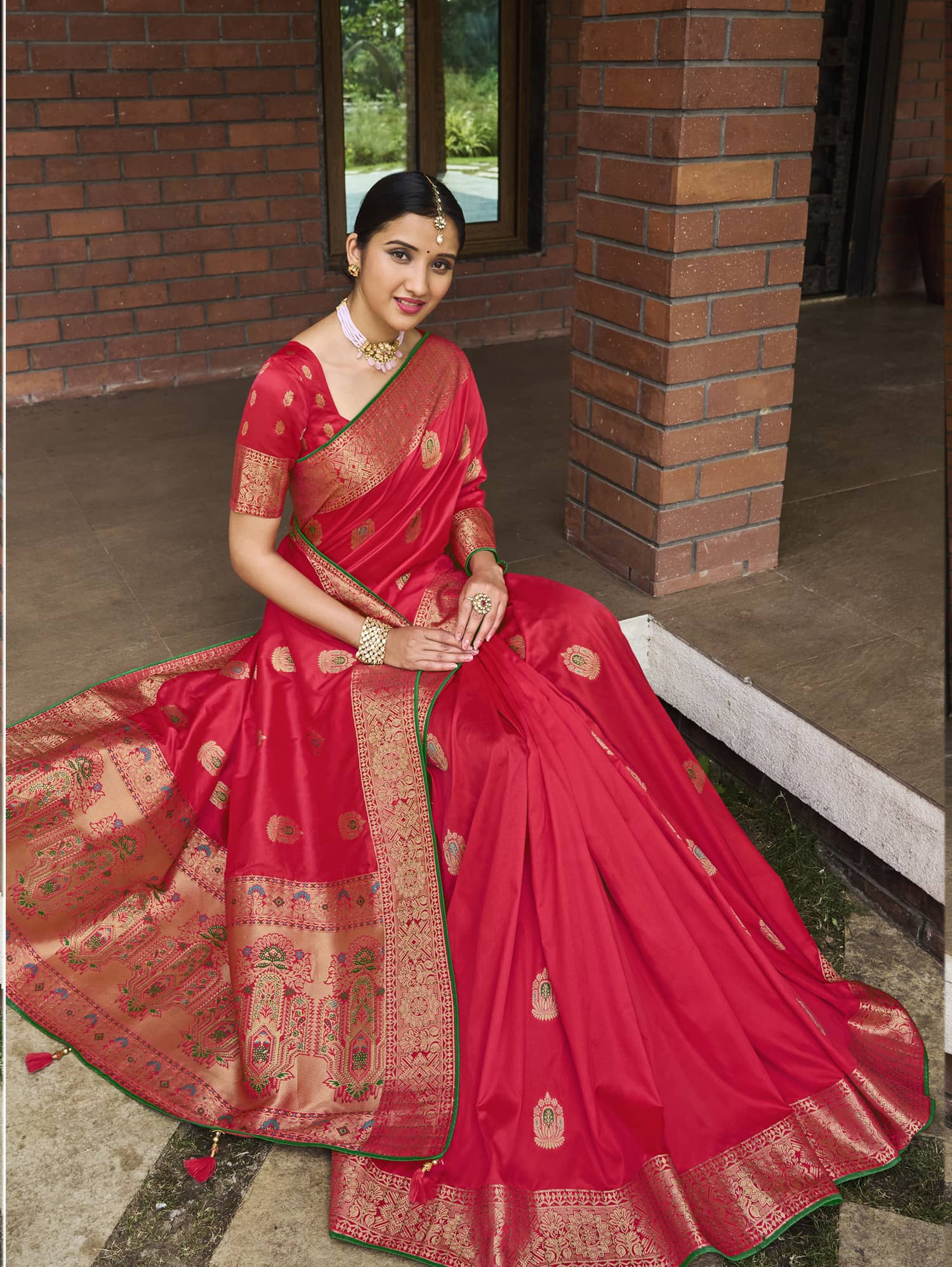 Women's Pink Soft silk saree dvz0002354-1
