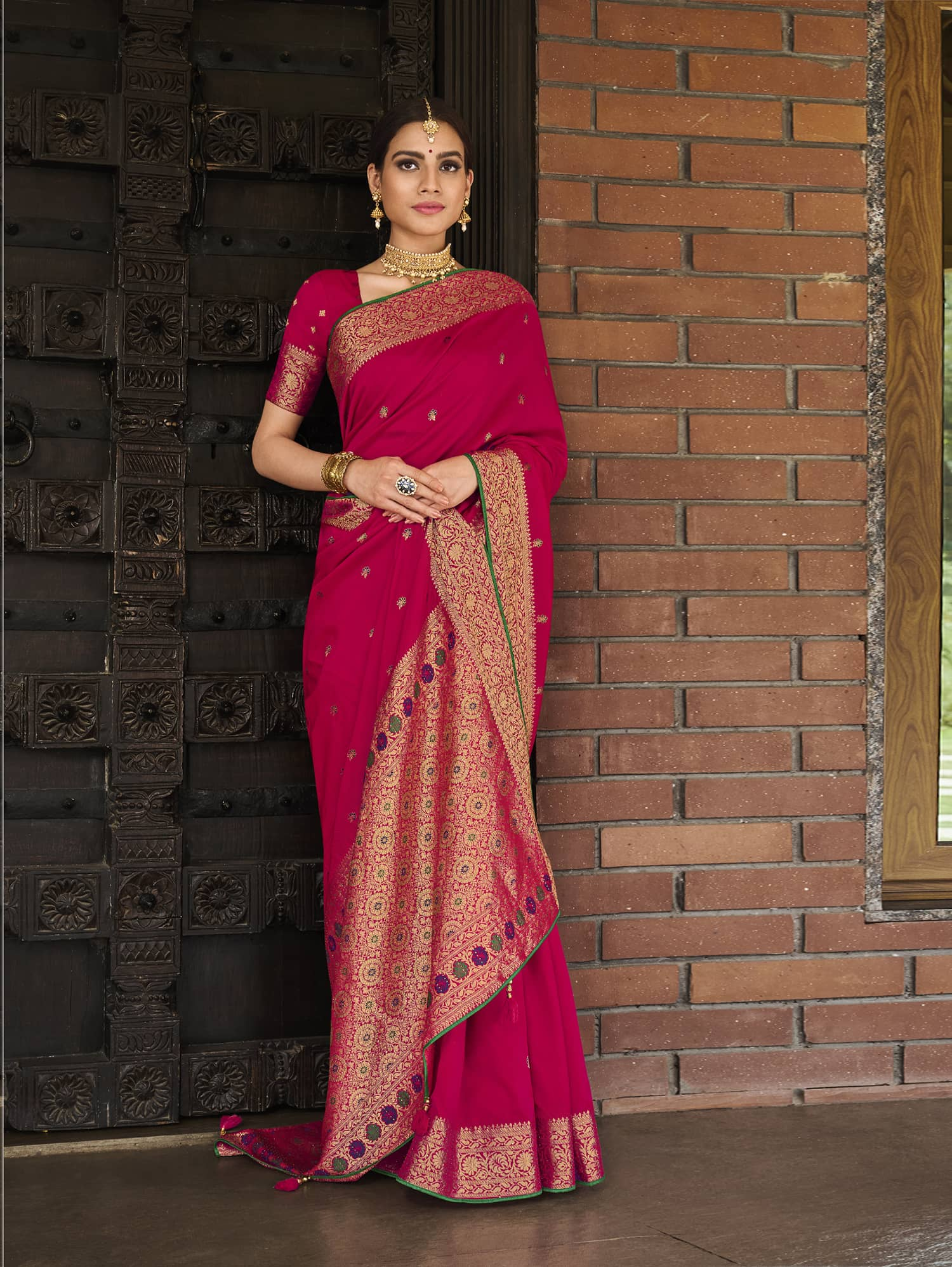 Women's Pink Soft silk saree dvz0002355