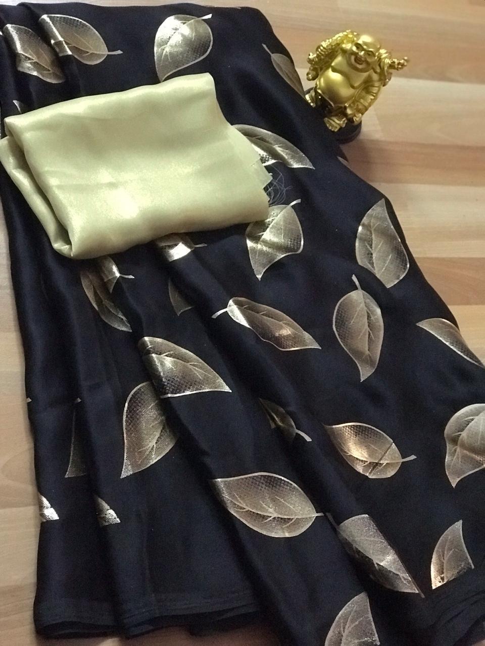 Women's Pure Satin Silk Gorgeous saree (Black) - Satin silk sarees india - dvz000066