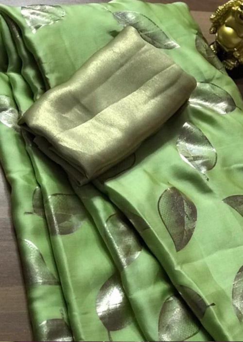 Women's Pure Satin Silk Gorgeous saree (Green) - Satin silk sarees india - dvz000071