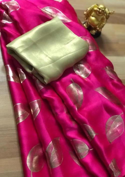 Women's Pure Satin Silk Gorgeous saree (Pink) - Satin silk sarees india - dvz000069