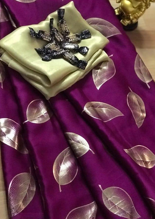 Women's Pure Satin Silk Gorgeous saree (Purple) - Satin silk sarees india - dvz000073