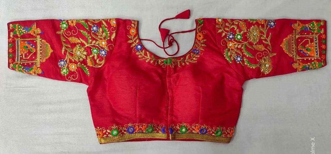 Women's Red Coloured handwork Blouse dvz0001028