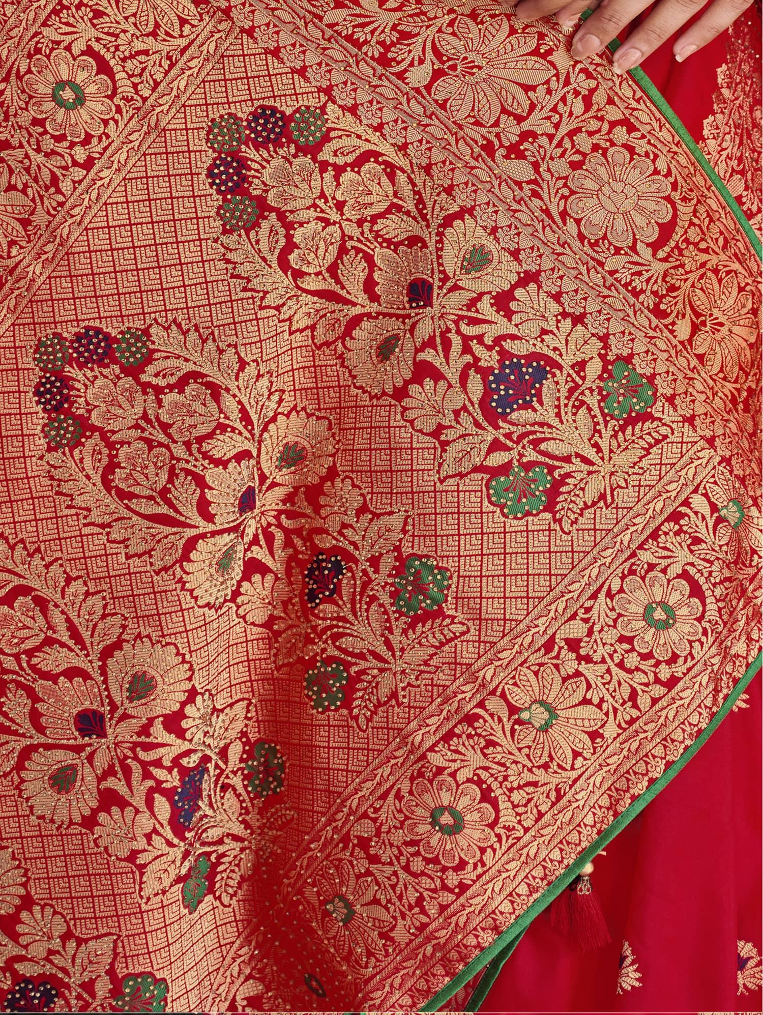Women's Red Soft silk saree dvz0002357-3