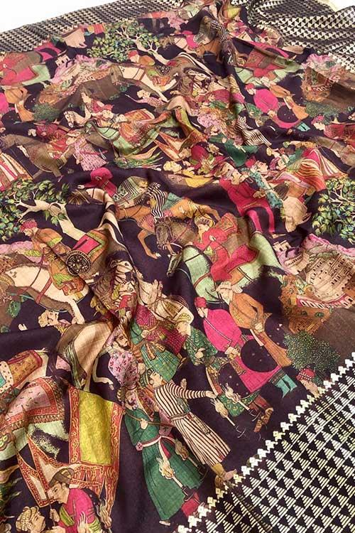Women's Semi handloom Linen Chanderi Kalmkari Saree dvz0001070