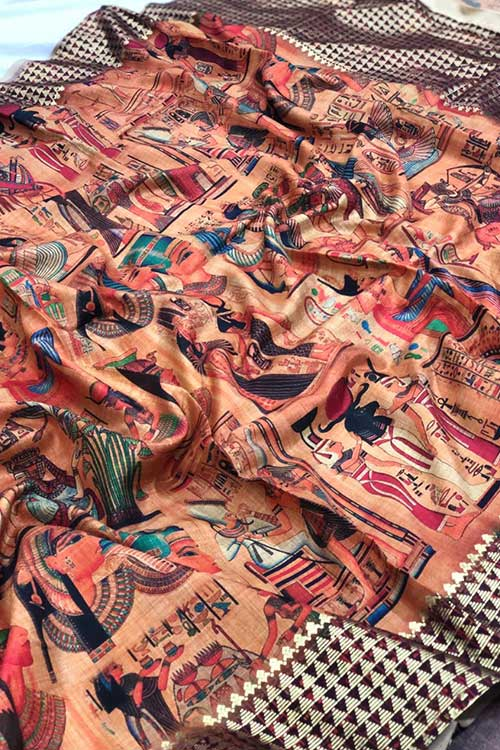 Women's Semi handloom Linen Chanderi Kalmkari Saree dvz0001071