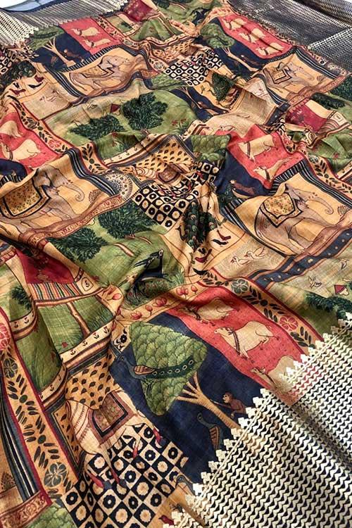 Women's Semi handloom Linen Chanderi Kalmkari Saree dvz0001073