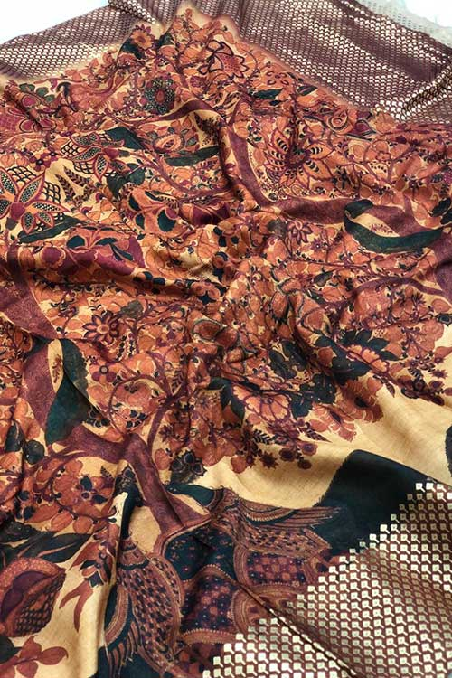 Women's Semi handloom Linen Chanderi Kalmkari Saree dvz0001074