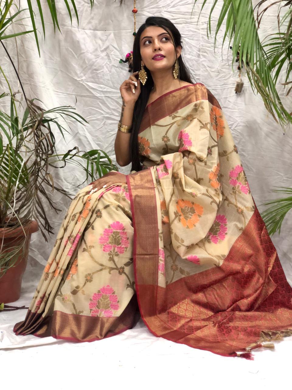 Women's Stylish Kora muslin silk saree online dvz0002170