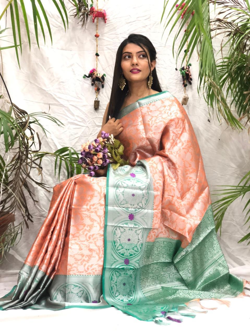 Women's Stylish Kora muslin silk saree online dvz0002174