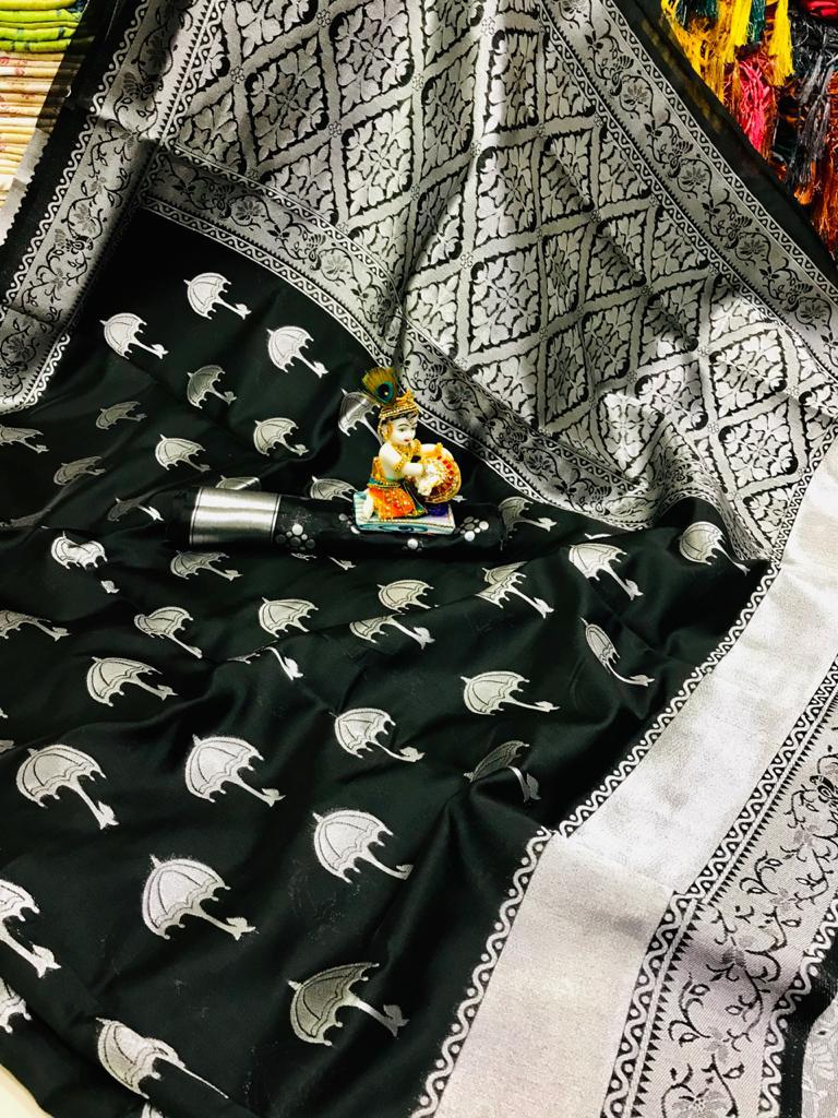 Women's Trendy Black Colour Soft silk traditional saree dvz0001692