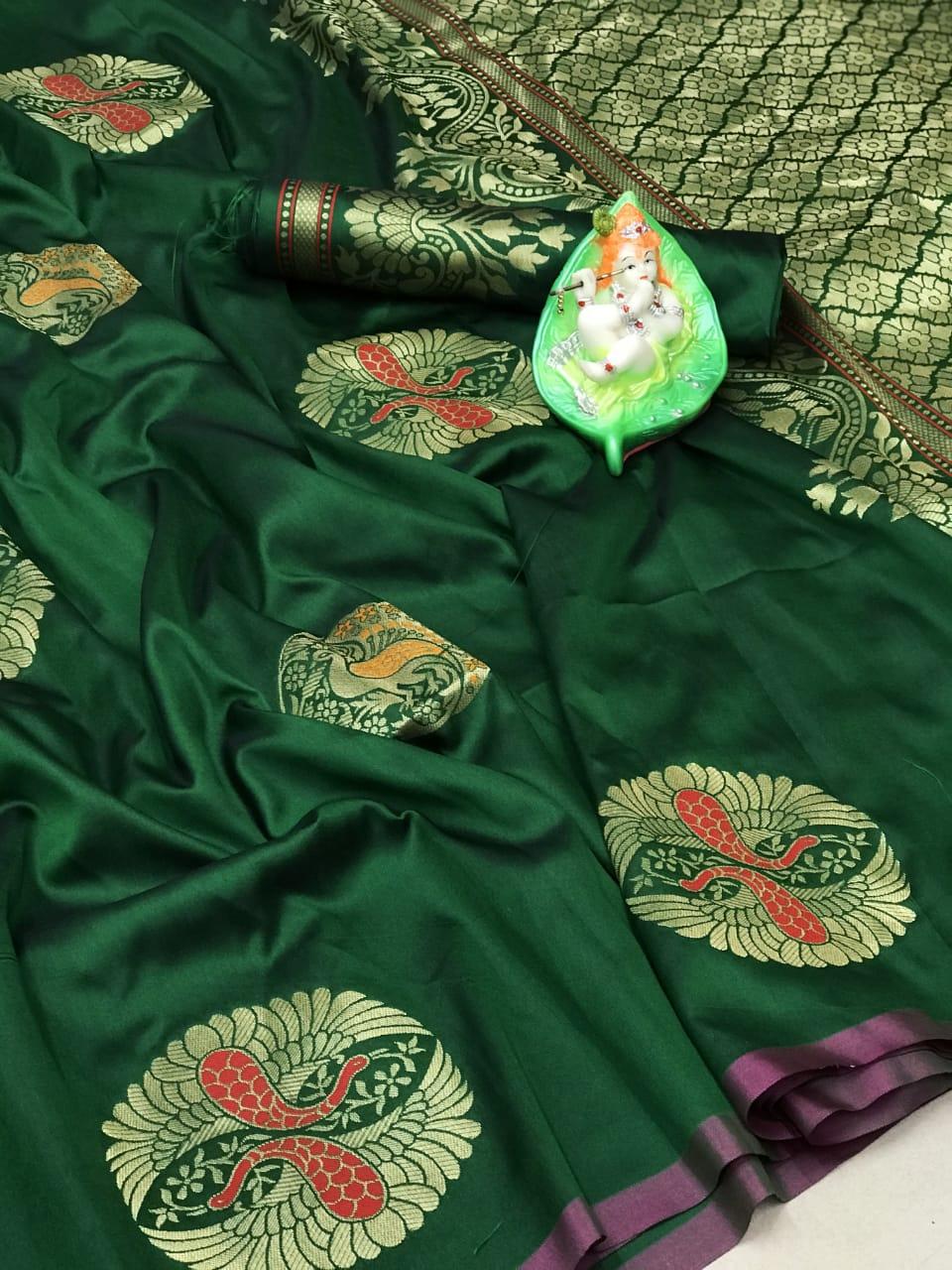 Women's green Lichi silk Traditional saree dvz0002312