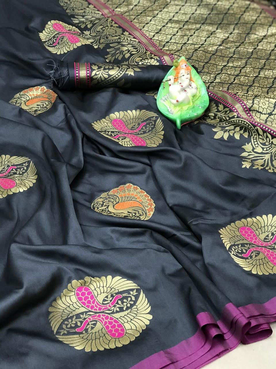Women's grey Lichi silk Traditional saree dvz0002313
