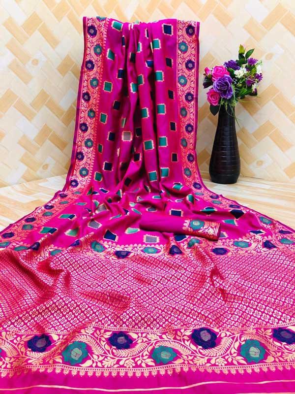 Women's Pink zari weaving Party wear saree dvz0001296