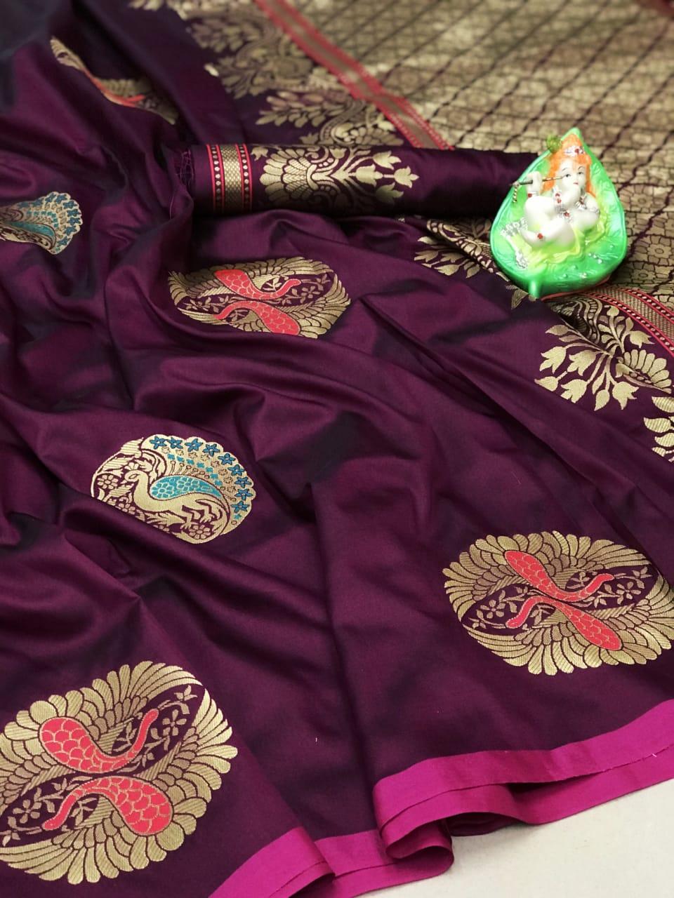 Women's purple Lichi silk Traditional saree dvz0002314