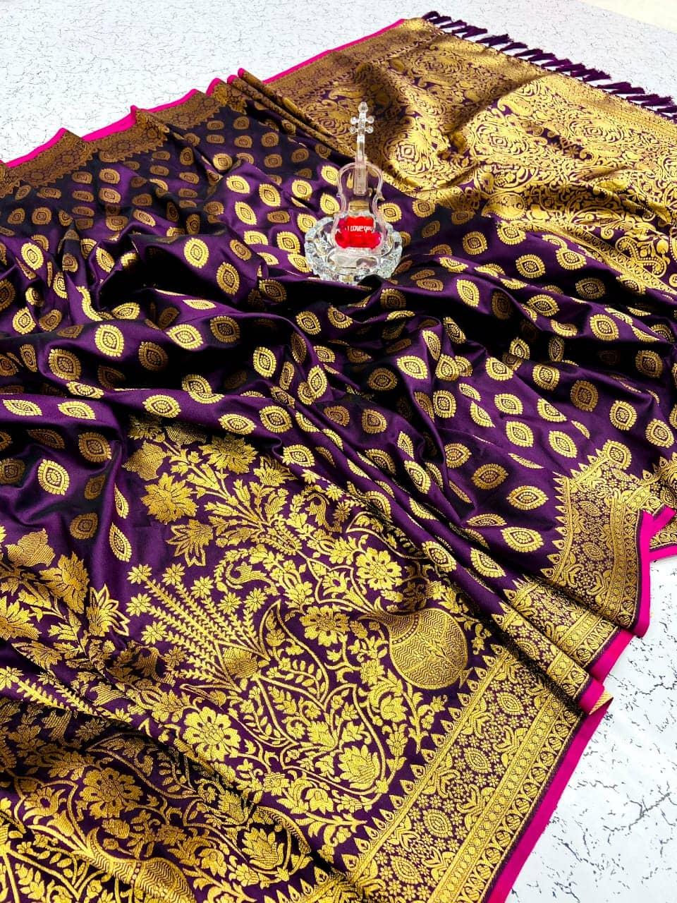Women's soft silk designer sarees online (Purple) dvz0001593