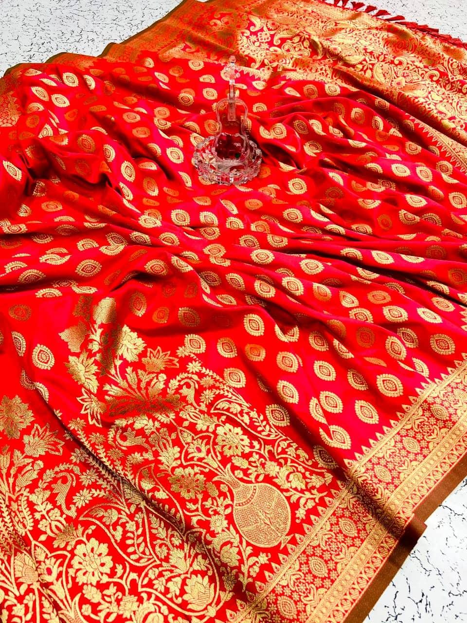 Women's soft silk designer sarees online (peach) dvz0001596