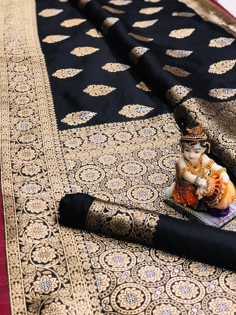 Women's super soft banarasi silk saree in Black dvz0001673