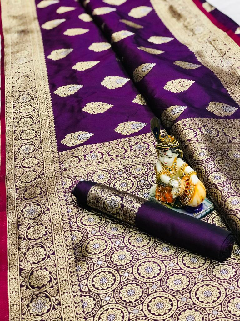 Women's super soft banarasi silk saree in Purple dvz0001676