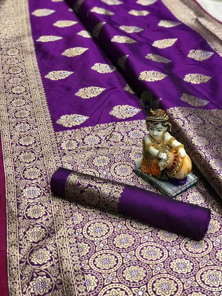 Women's super soft banarasi silk saree in Purple dvz0001677