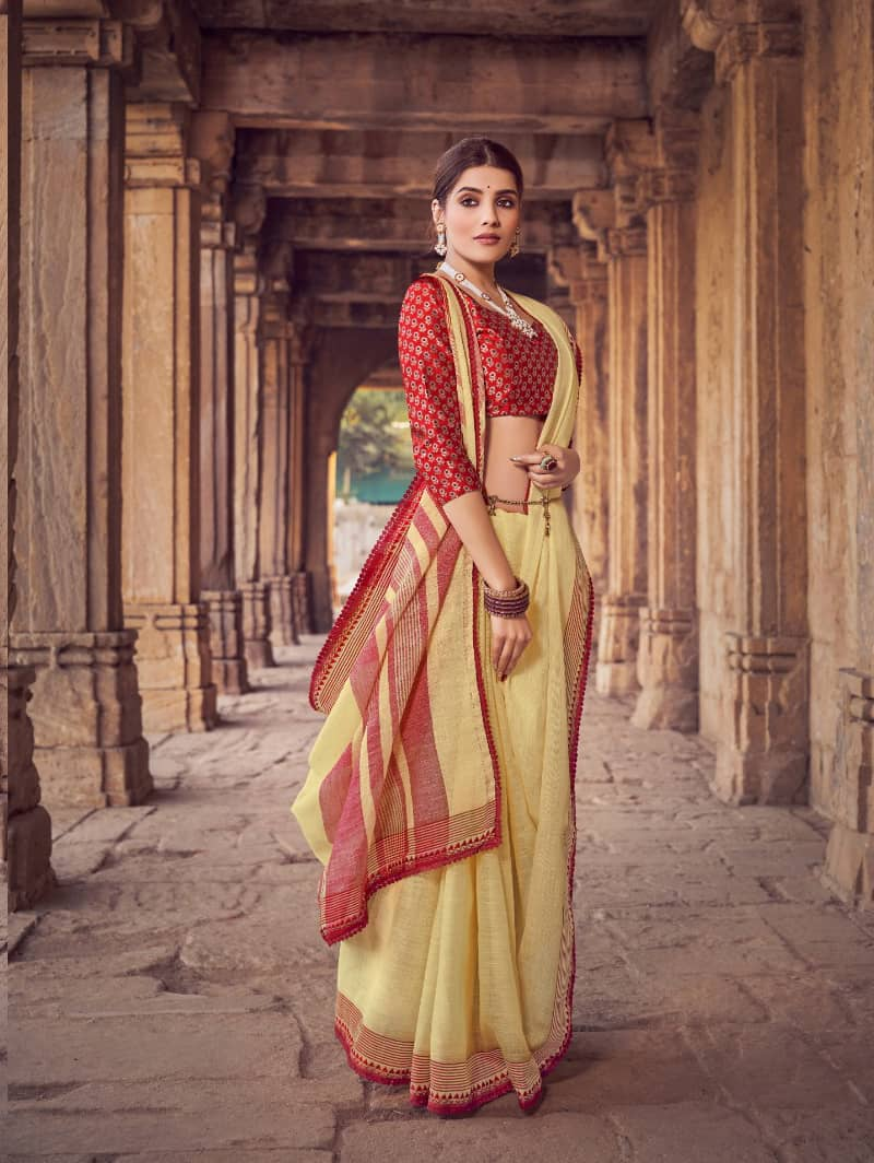 Yellow Branded Soft Linen silk Traditional saree dvz0001786