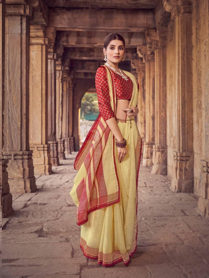 Yellow Branded Soft Linen silk Traditional saree dvz0001786