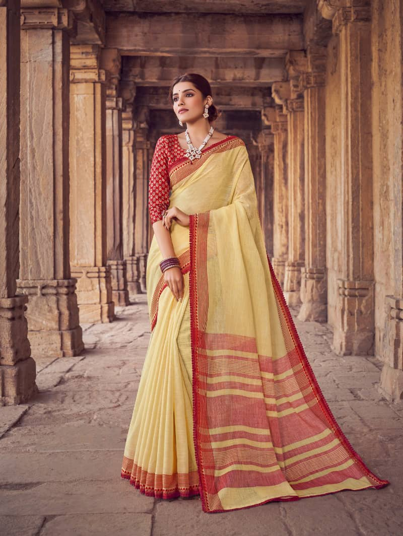 Yellow Branded Soft Linen silk saree dvz0001786