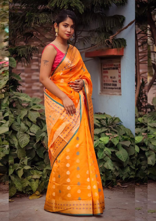 Yellow Cotton Silk Weaving Saree with Blouse Piece dvz000042