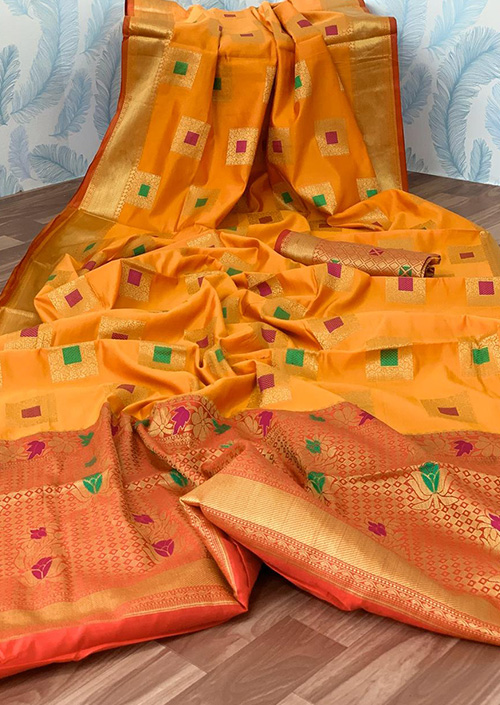 Yellow Lichi silk saree Online india dvz0001046