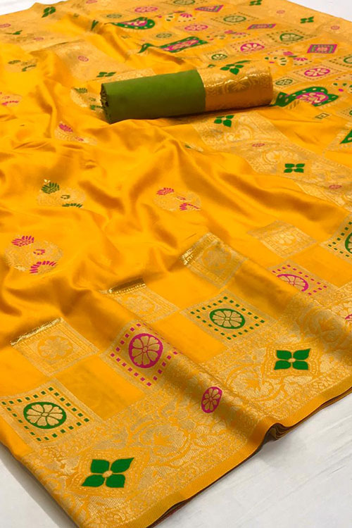 Yellow Soft silk saree - silk sarees online india - dvz0001111