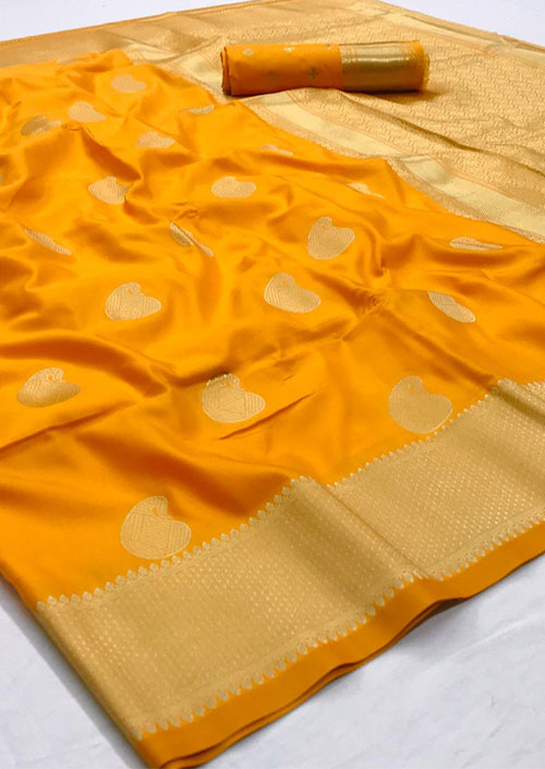 Yellow Soft silk sarees for women's in india dvz000088