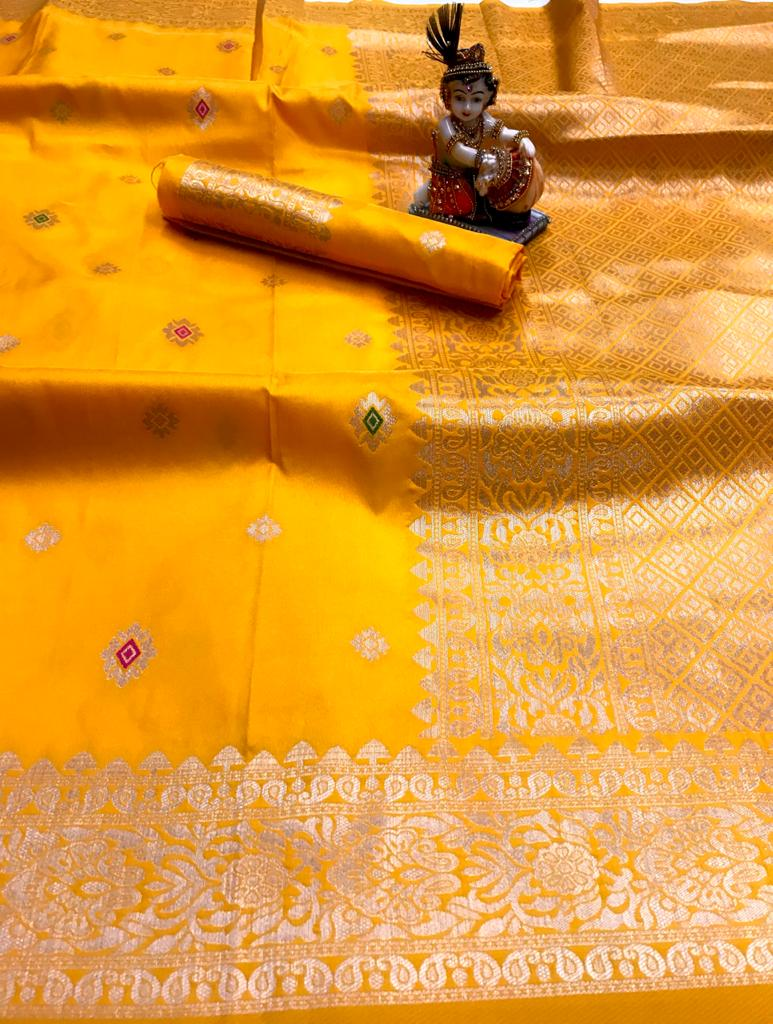 Yellow lichi silk Traditional Saree dvz0001815