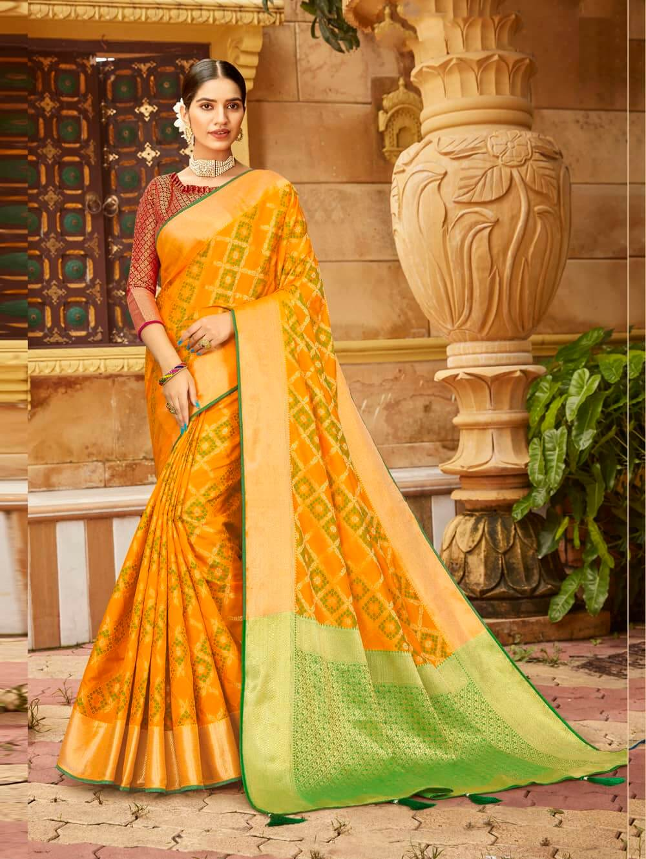 beautiful Orange Soft silk Weaving Pallu work saree dvz0002670