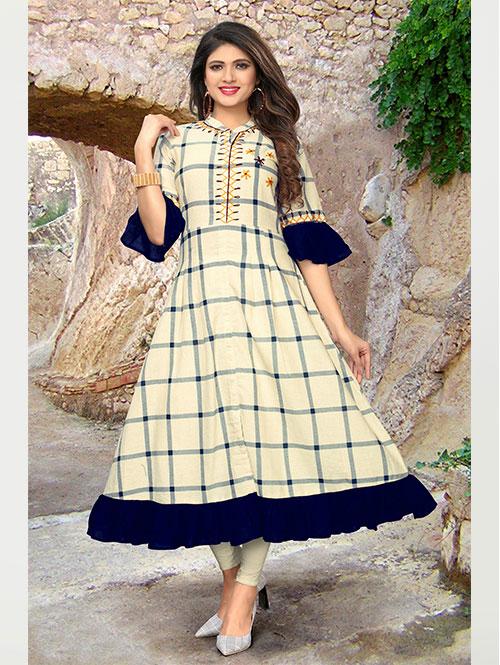 beige-color-beautiful-cotton-anarkali-kurti-with-handwork-dvz000227