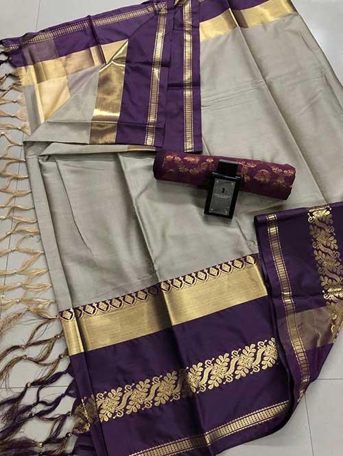 Beige cotton silk saree - silk sarees online - shop now | Dvanza.com