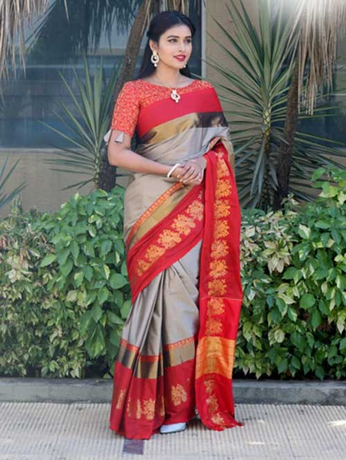 Beige Cotton Silk Saree with Extra Blose Piece - Rich Mayurica