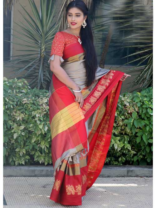 Beige Cotton Silk Saree with Extra Blose Piece - Rich Mayurica - buy silk sarees online
