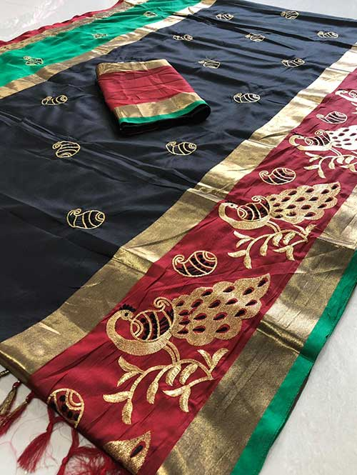 black-color-cotton-silk-embroidery-saree-dvz00070
