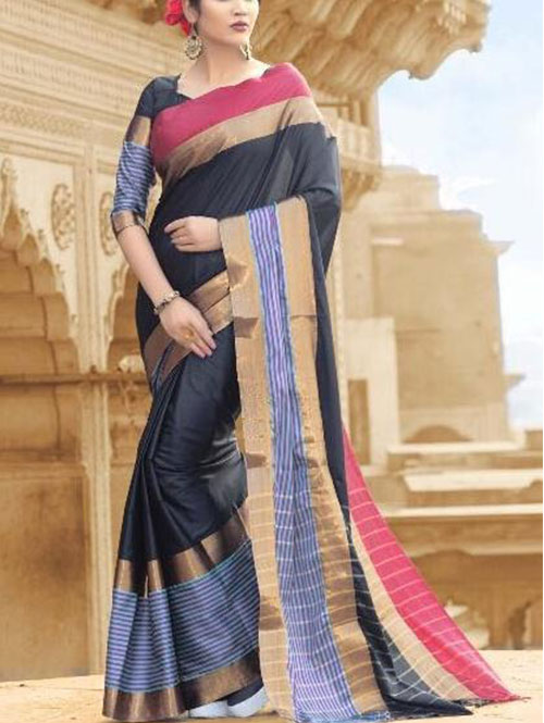 black-colored-beautiful-branded-cotton-silk-saree-prafulla-dvz000164 (2)