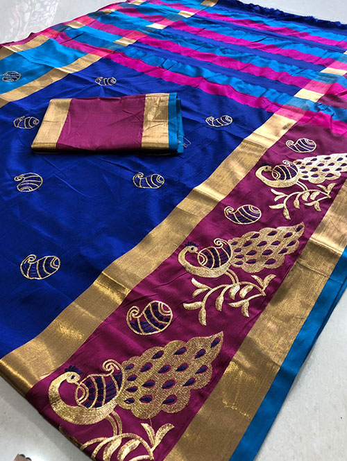 blue-color-cotton-silk-embroidery-saree-dvz000124