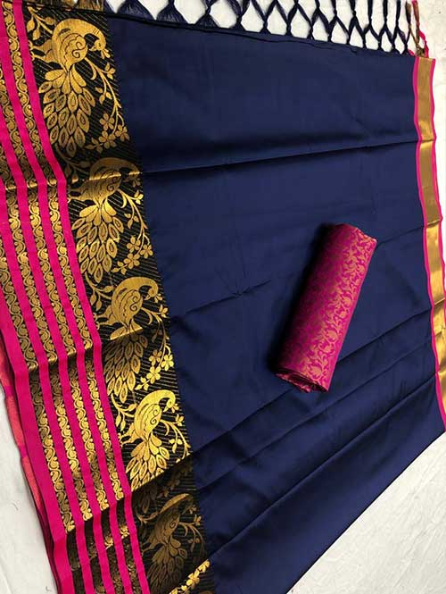 blue-colored-beautiful-branded-cotton-silk-saree-with-double-blouse-dvz000186