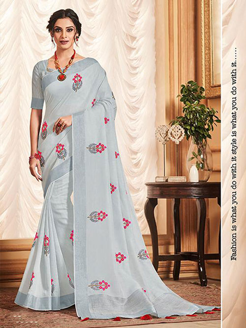 blue-colored-beautiful-embroidered-branded-linen-saree-dvz000158 (1)