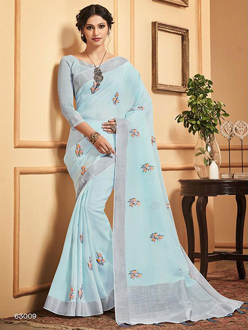blue-colored-beautiful-embroidered-branded-linen-saree-dvz000162 (1)
