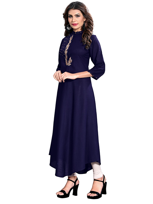 Blue colored Beautiful Printed Rayon C-Cut Kurti